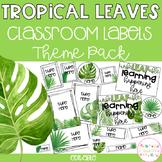 TROPICAL LEAVES Editable Name Tags, Labels, Posters & Door Display