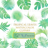 Tropical Leaves Clipart, Watercolor Jungle Greenery, Monstera Leaf