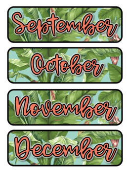 Tropical Leaves II Themed Pocket Chart Subject Schedule Cards & Calendar
