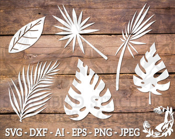 Tropical Leaves Svg Instant Download Commercial Use Svg Silhouette Svg Download icon font or svg. teachers pay teachers