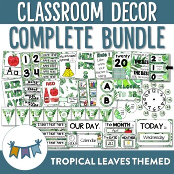 Tropical Leaves Themed Classroom Decor Bundle