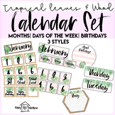 Tropical Leaves and Wood Calendar Pieces | Days of the Week | 3 Styles