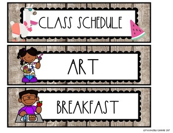 Tropical Llama Classroom Schedule Cards