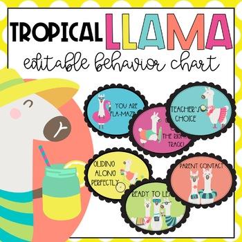 Tropical Llama EDITABLE Behavior Chart