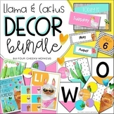 Tropical Llama and Cactus Classroom Decor Bundle