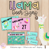Tropical Llamas EDITABLE Classroom Door Signs- Welcome & Where are we?