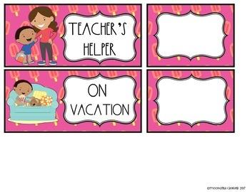 Tropical Llamas EDITABLE Classroom Job Chart