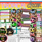 Tropical Luau Class Decor Bundle (Behavior Chart, Name Plates, Labels, Signs)