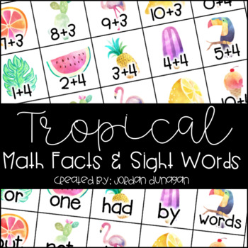 Tropical Math Facts and Sight Words Flash Cards