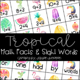 Tropical Math Fact and Sight Word Flash Cards {Editable!}