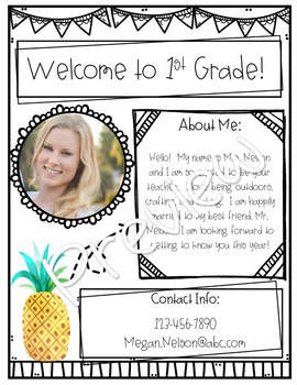 Tropical Meet the Teacher! Editable