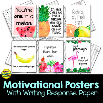 Tropical Motivational Posters With Writing Activity