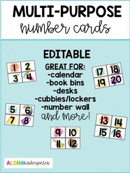 Tropical Multi-Purpose Number Cards - EDITABLE