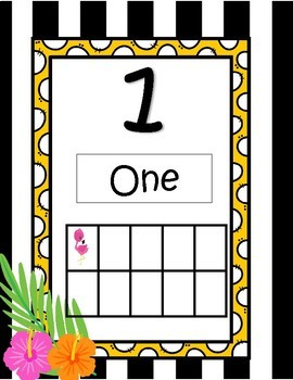 Tropical Numbers Classroom Decor