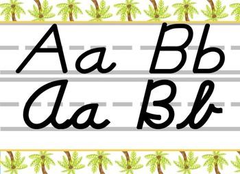 Tropical Palm Tree themed D'Nealian print and cursive Alphabet Strip