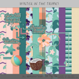Tropical Papers and Clip Art Digital Scrapbooking Supplies