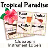 Tropical Paradise Classroom Instrument Labels