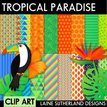 Tropical Paradise Clip Art & Digital Paper Collection