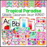 Tropical Paradise Editable Classroom Decor Bundle