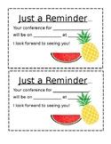 Tropical Parent Teacher Conferences- Reminder- Spanish/ English- EDITABLE