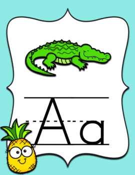 Tropical Pineapple Decor Alphabet Posters and Chart