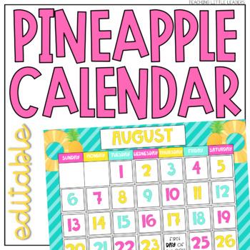Tropical Pineapple Calendar {Editable}