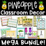 Tropical Pineapple Classroom Decor Mega Bundle EDITABLE