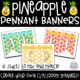 Tropical Pineapple Decor Pennant Banner Letters