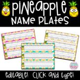 Tropical Pineapple Decor Name Plates Tags EDITABLE