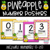 Tropical Pineapple Decor Number Posters