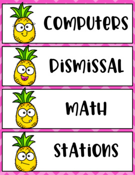 Tropical Pineapple Decor Schedule Cards EDITABLE