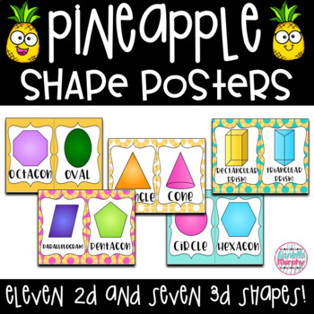 Tropical Pineapple Decor 2D and 3D Shape Posters