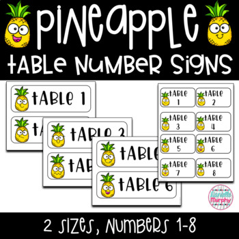 Tropical Pineapple Decor Table Numbers