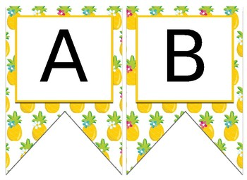 Tropical Pineapple Themed EDITABLE Bulletin Board Banner
