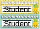 Tropical Pineapple Themed editable nameplates with alphabet strips