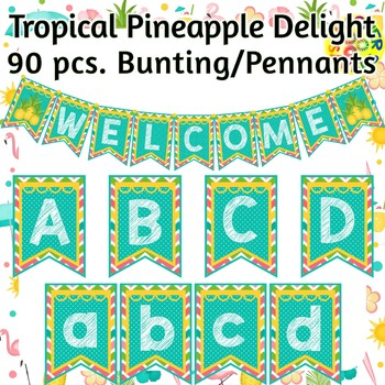 Tropical Pineapple and Flamingos Pennants Bunting