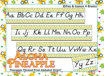 Tropical Pineapple themed D'Nealian Print Alphabet Strip