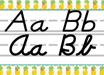 Tropical Pineapple themed D'Nealian print and cursive Alphabet Strip