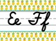 Tropical Pineapple themed cursive Alphabet Strip