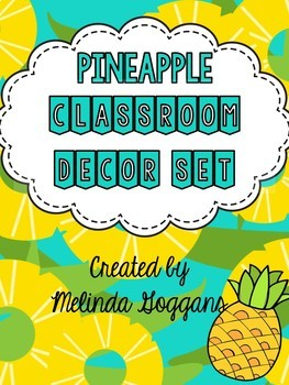 Tropical Pineapple Classroom Theme (with editable templates & teacher binder)