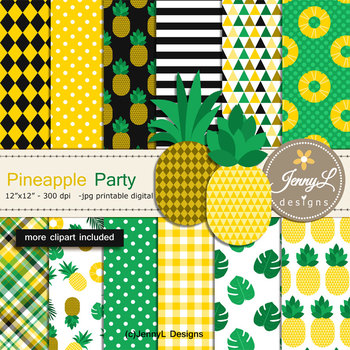 Tropical Pineapples Digital Papers and Clipart