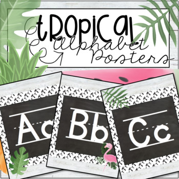 Tropical (Pineapples, Flamingos, Popsicles, more!) Print Alphabet Posters