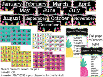 Tropical (Pineapples and Flamingos) Calendar Set