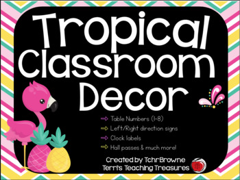 Tropical (Pineapples and Flamingos) Classroom Decor Set