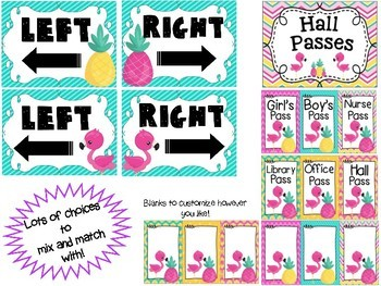 Tropical (Pineapples and Flamingos) Classroom Labels and Decor Bundle