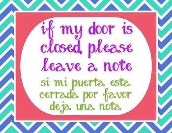 "Bilingual - Tropical - Please Leave a Note - 8.5""x11"""