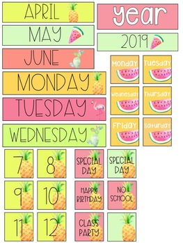 Tropical Pocket Chart Calendar