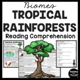 Tropical Rainforest Biome Reading Comprehension Worksheet