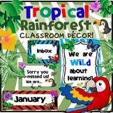Tropical Rainforest Classroom Decor (Editable) Jungle Classroom Decor