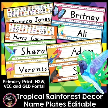 Tropical Rainforest Name Tags / Name plates EDITABLE
